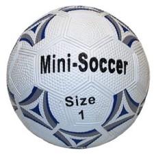 Soccerball mini Rubber size 1 white/blue 13 cm
