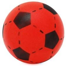 Voetbal schuimrubber rood/zwart 20 cm.