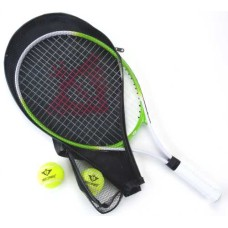 Tennis racket green allu 25 inch 2 balls+cover