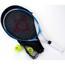 Tennisracket blauw 25 inch m. 2 ballen+hoes
