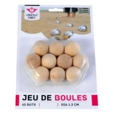 Boules/Pétanque10 But balls natural wood 30mm..Blist.