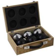 Boules/Pétanque-case 6 balls Silver/black 720gr