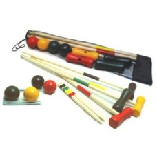 Croquet game 4 players 80 cm wood in net