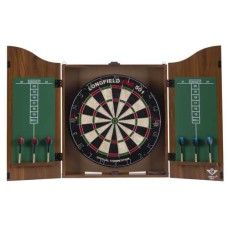 Darts Cabinet with board and 2 sets darts