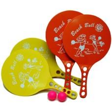 Beachball kunststof geel+oranje m.print - MA 12
