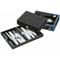 Backgammon black, inlaid felt grey 23 cm