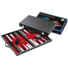 Backgammon black inlaid. felt red 46 cm.
