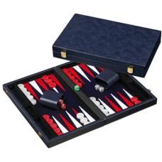 Backgammon Blauw ingelegd vilt  38,5 cm