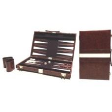 Backgammonkoffer bruin vinyl 46x30 cm.