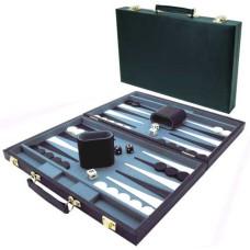 Backgammonkoffer 38 cm. Zwart effen