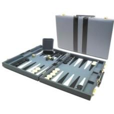Backgammonkoffer 38 cm Grijs/wit/zwart