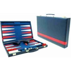 Backgammon 38 cm blauw m.rode bies