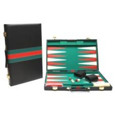 Backgammonkoffer zwart/groen-rood 46 cm.