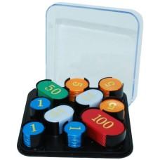 Roulettefiches 100 st.goudkl.bedrukt cass.