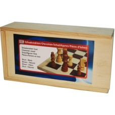 Chessmen wood 77mm.Staunt.3 nat./brown