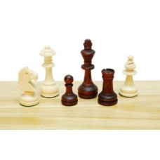 Chessmen Staunton3 wood nat/br.W+F.76mm