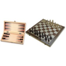 Chess-/Backgam.cass.inlay.29cm.w.pieces