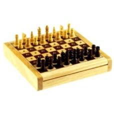 Schaakspel insteek Pocket Chess 12x12 cm.