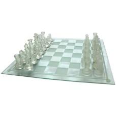 Schaakset glas 35cm.stukken.wit/transp. B-kwaliteit, krasjes op speelbord