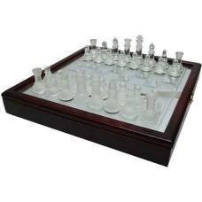 Schaakset kist glas/hout 35cm.stuk.zw./wit B-Kwaliteit, Krasjes op glasplaat