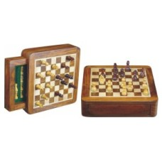 Chess-travel-cass.magn.drawer 19 cm.Acacia * delivery time unknown *