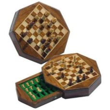 Chess travel set.8 corn.magn.Acacia.14x14cm.