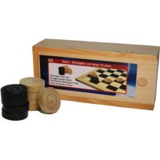 Damschijven 32 mm.in blank/zwart in houten kist