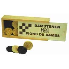Draughts-stones Palmwood 32 mm.in box