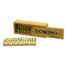 Domino dubbel 6 dun,steen wit m.pen kist