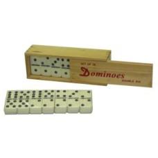Domino dubbel 6 groot m.pen/wit st. kist