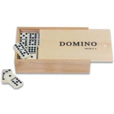 Domino dubbel 9 met pen/wit.stenen kist