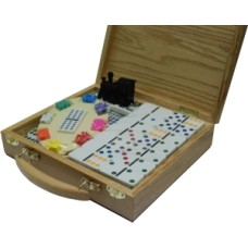 Domino Mexican-Train Double 12 wooden case