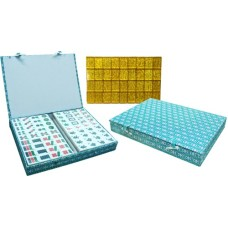 Mah-Jong,Tiles white/gold Urea,case green