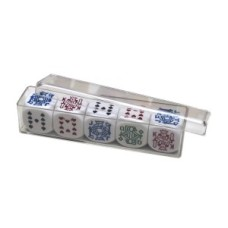 Set of 5 pokerdice 16 mm, in plastic box * delivery time unknown *