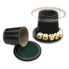 Dobbelbeker zwart leder+deksel+stenen 9cm