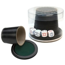 Poker-cup leather 9cm.with pokerdice and cover