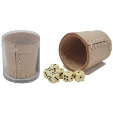 Dicecup 5 cm.raw leather natural + dice