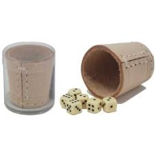 Dobbelbeker-set mini 5 cm. naturel leder