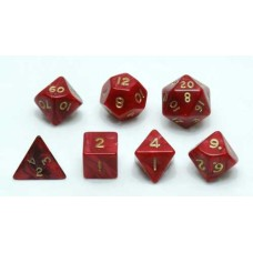 Dice Set, Red marble/pearl, 7 pcs. * delivery time unknown *