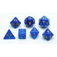 Dobbelstenen Set blauw marmer/parelmoer 7 st. * levertijd onbekend *