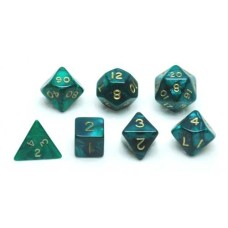 Dice set, Green marble/pearl, 7 pcs. * delivery tim eunknwon *