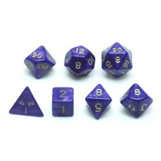 Dice set, Purple marble/pearl, 7 pcs. * levertijd onbekend *