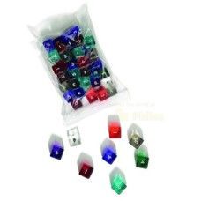 Acryl.dice D6 numbers,15mm,6col.ass.p.12