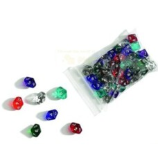 Acryl.dice,10 sides,22 mm,6 col.ass.VE.12* delivery time unknown *