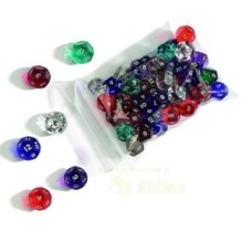 Acrylic dice,12 sides,17mm diff.col.ass.p.12 * delivery time unknown *