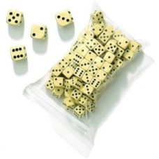 Dice offwhite 22 mm, in bag of 12 pieces * delivery time unknown *