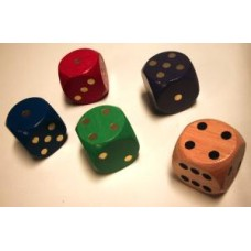 Wooden dice 30 mm, 5 assorted colours VE.5