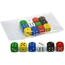 Dice 20 mm. wood 6 colours assorted VE.12