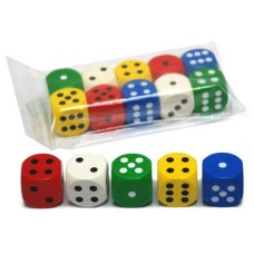 Dice 25 mm,wood 5 colours assorted VE.10
