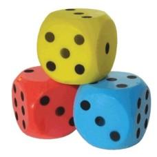 Foam dice Blue/black dots 15 cm/6 inch